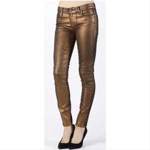 Paige Ultra Skinny rose gold copper jeans 30